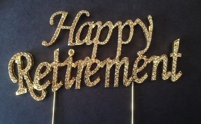 Happy Retirement Gold Sign