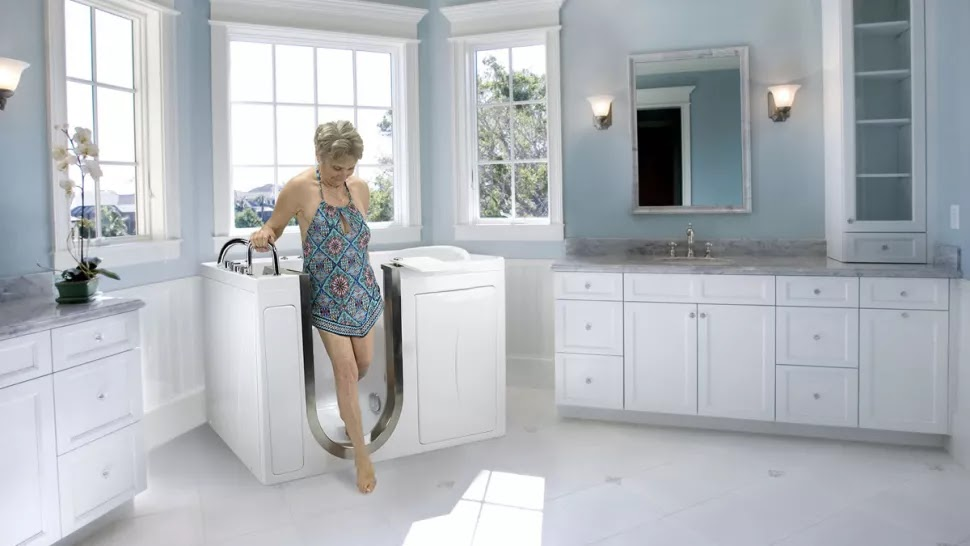 A Old Lady Steeping Out Of Walk In Tub